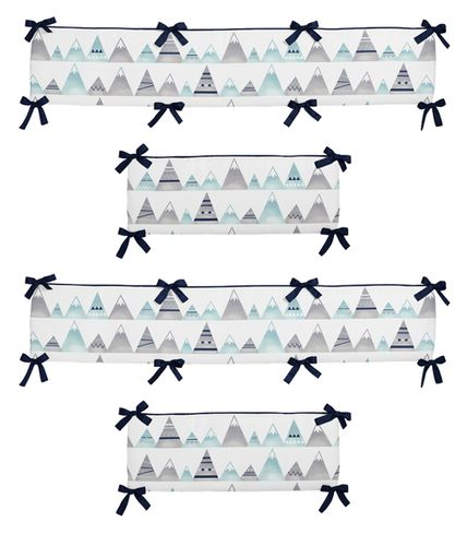 Navy Blue, Aqua and Grey Aztec Baby Crib Bumper Pad for Mountains Collection by Sweet Jojo Designs - Click to enlarge