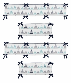 Navy Blue, Aqua and Grey Aztec Baby Crib Bumper Pad for Mountains Collection by Sweet Jojo Designs