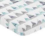 Navy Blue, Aqua and Grey Aztec Baby Fitted Mini Portable Crib Sheet for Mountains Collection by Sweet Jojo Designs