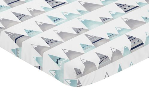 Navy Blue, Aqua and Grey Aztec Baby Fitted Mini Portable Crib Sheet for Mountains Collection by Sweet Jojo Designs - Click to enlarge