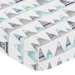 Navy Blue, Aqua and Grey Aztec Baby or Toddler Fitted Crib Sheet for Mountains Collection by Sweet Jojo Designs