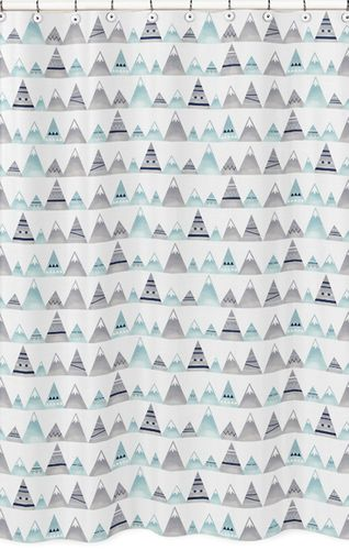Navy Blue, Aqua and Grey Aztec Bathroom Fabric Bath Shower Curtain for Mountains Collection by Sweet Jojo Designs - Click to enlarge
