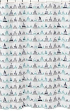 Navy Blue, Aqua and Grey Aztec Bathroom Fabric Bath Shower Curtain for Mountains Collection by Sweet Jojo Designs