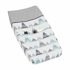 Navy Blue, Aqua and Grey Aztec Changing Pad Cover for Mountains Collection by Sweet Jojo Designs