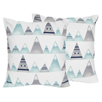 Navy Blue, Aqua and Grey Aztec Decorative Accent Throw Pillows for Mountains Collection by Sweet Jojo Designs - Set of 2