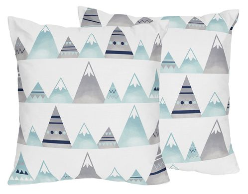 Navy Blue, Aqua and Grey Aztec Decorative Accent Throw Pillows for Mountains Collection by Sweet Jojo Designs - Set of 2 - Click to enlarge