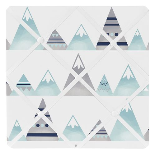 Navy Blue, Aqua and Grey Aztec Fabric Memory Memo Photo Bulletin Board for Mountains Collection by Sweet Jojo Designs - Click to enlarge