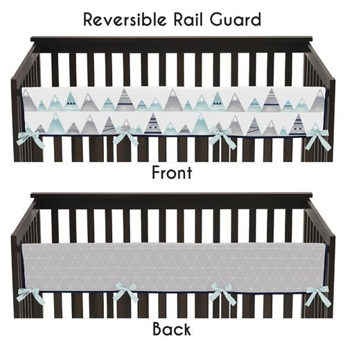 Navy Blue, Aqua and Grey Aztec Long Front Crib Rail Guard Baby Teething Cover Protector Wrap for Mountains Collection by Sweet Jojo Designs - Click to enlarge