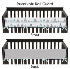 Navy Blue, Aqua and Grey Aztec Long Front Crib Rail Guard Baby Teething Cover Protector Wrap for Mountains Collection by Sweet Jojo Designs
