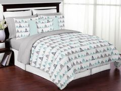 Navy Blue, Aqua and Grey Aztec Mountains Boy or Girl Full / Queen Kid Childrens Teen Bedding Comforter Set by Sweet Jojo Designs - 3 pieces
