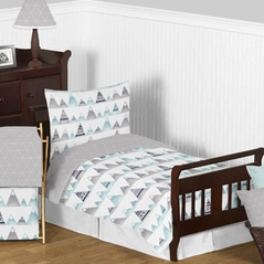 Navy Blue, Aqua and Grey Aztec Mountains Boy or Girl Toddler Kid Childrens Bedding Set by Sweet Jojo Designs - 5 pieces Comforter, Sham and Sheets