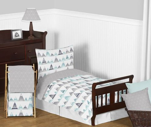 Navy Blue, Aqua and Grey Aztec Mountains Boy or Girl Toddler Kid Childrens Bedding Set by Sweet Jojo Designs - 5 pieces Comforter, Sham and Sheets - Click to enlarge