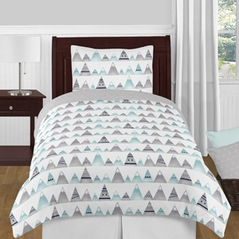Navy Blue, Aqua and Grey Aztec Mountains Boy or Girl Twin Kid Childrens Teen Bedding Comforter Set by Sweet Jojo Designs - 4 pieces