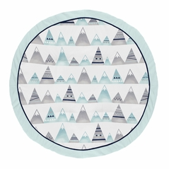 Navy Blue, Aqua and Grey Aztec Playmat Tummy Time Baby and Infant Play Mat for Mountains Collection by Sweet Jojo Designs