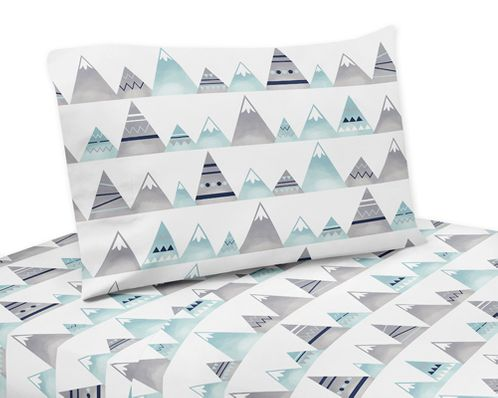 Navy Blue, Aqua and Grey Aztec Queen Sheet Set for Mountains Collection by Sweet Jojo Designs - 4 piece set - Click to enlarge