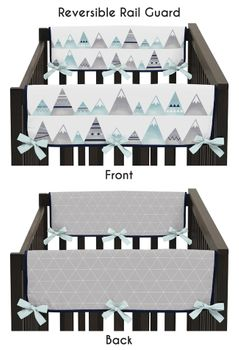 Navy Blue, Aqua and Grey Aztec Side Crib Rail Guards Baby Teething Cover Protector Wrap for Mountains Collection by Sweet Jojo Designs - Set of 2