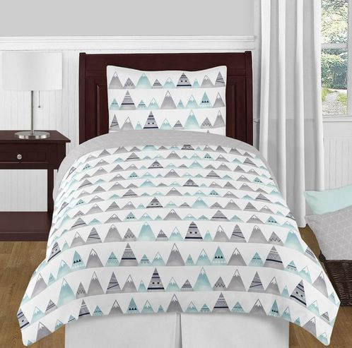 Navy Blue, Aqua and Grey Aztec Mountains Boy or Girl Twin Kid Childrens Teen Bedding Comforter Set by Sweet Jojo Designs - 4 pieces - Click to enlarge