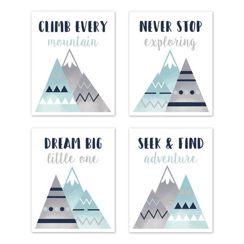 Navy Blue, Aqua and Grey Aztec Wall Art Prints Room Decor for Baby, Nursery, and Kids for Mountains Collection by Sweet Jojo Designs - Set of 4 - Dream Big Adventure - Click to enlarge