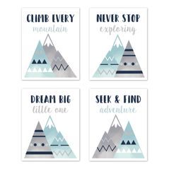 Navy Blue, Aqua and Grey Aztec Wall Art Prints Room Decor for Baby, Nursery, and Kids for Mountains Collection by Sweet Jojo Designs - Set of 4 - Dream Big Adventure