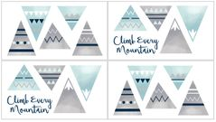 Navy Blue, Aqua and Grey Aztec Wall Decal Stickers for Mountains Collection by Sweet Jojo Designs - Set of 4 Sheets