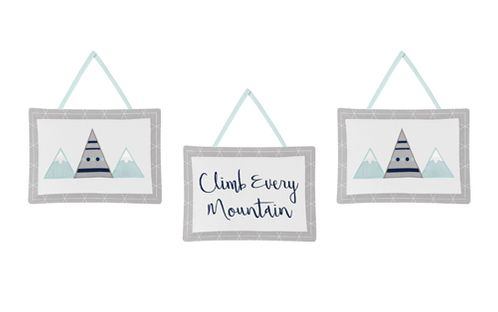 Navy Blue, Aqua and Grey Aztec Wall Hanging Decor for Mountains Collection by Sweet Jojo Designs - Set of 3 - Click to enlarge