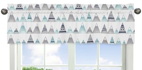 Navy Blue, Aqua and Grey Aztec Window Treatment Valance for Mountains Collection by Sweet Jojo Designs - Click to enlarge