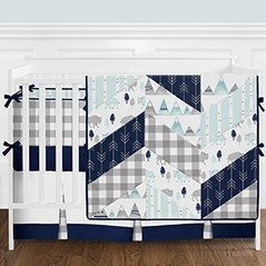 Navy Blue, Aqua, Grey and White Buffalo Plaid Mountain Arrow Baby Boy Crib Bedding Set with Bumper by Sweet Jojo Designs - 9 pieces