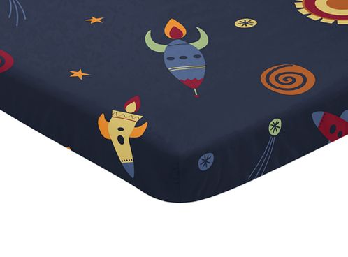 Navy Blue Baby Fitted Mini Portable Crib Sheet for Space Galaxy Collection by Sweet Jojo Designs - Click to enlarge