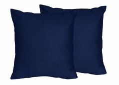 Navy Blue Decorative Accent Throw Pillow Case Covers by Sweet Jojo Designs - Set of 2 (Inserts Not Included) - Solid Color for Navy Blue and Gray Stripe Collection