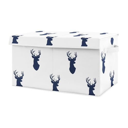 Navy Blue Deer Boy Baby Nursery or Kids Room Small Fabric Toy Bin Storage Box Chest for Woodland Deer Stag Collection by Sweet Jojo Designs - Click to enlarge