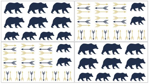 Navy Blue, Gold, and White Arrows Peel and Stick Wall Decal Stickers Art Nursery Decor for Big Bear Collection by Sweet Jojo Designs - Set of 4 Sheets - Click to enlarge