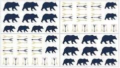 Navy Blue, Gold, and White Arrows Peel and Stick Wall Decal Stickers Art Nursery Decor for Big Bear Collection by Sweet Jojo Designs - Set of 4 Sheets