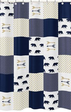 Navy Blue, Gold, and White Bathroom Fabric Bath Shower Curtain for Big Bear Collection