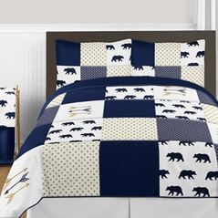 Navy Blue, Gold, and White Big Bear Boy Full / Queen Bedding Comforter Set Kids Children by Sweet Jojo Designs - 3 pieces