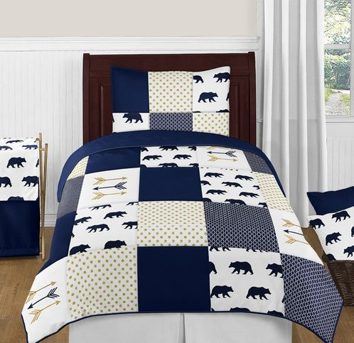 Navy Blue, Gold, and White Big Bear Boy Twin Kid Childrens Bedding Comforter Set by Sweet Jojo Designs - 4 pieces - Click to enlarge
