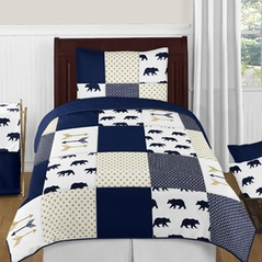 Navy Blue, Gold, and White Big Bear Boy Twin Kid Childrens Bedding Comforter Set by Sweet Jojo Designs - 4 pieces
