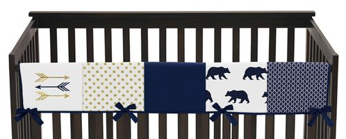 Navy Blue Gold and White Big Bear Long Front Crib Rail Guard Baby Teething Cover Protector Wrap - Click to enlarge
