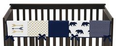 Navy Blue Gold and White Big Bear Long Front Crib Rail Guard Baby Teething Cover Protector Wrap