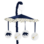 Navy Blue, Gold, and White Musical Baby Crib Mobile for Big Bear Collection