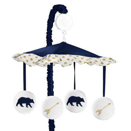 Navy Blue, Gold, and White Musical Baby Crib Mobile for Big Bear Collection - Click to enlarge