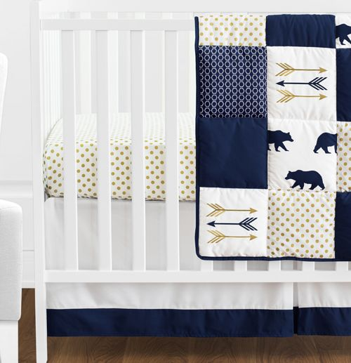 White Patchwork Bear Boy Baby Crib