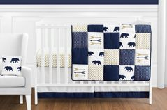 Navy Blue, Gold, and White Patchwork Big Bear Boy Baby Crib Bedding Set without Bumper by Sweet Jojo Designs - 11 pieces