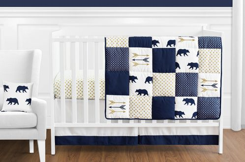 Navy Blue, Gold, and White Patchwork Big Bear Boy Baby Crib Bedding Set without Bumper by Sweet Jojo Designs - 11 pieces - Click to enlarge