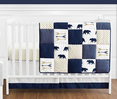 Navy Blue, Gold, and White Patchwork Big Bear Boy Baby Crib Bedding Set without Bumper by Sweet Jojo Designs - 4 pieces - Click to enlarge