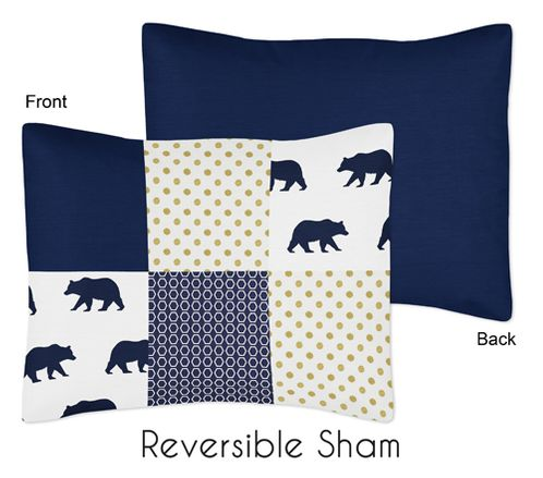 Navy Blue, Gold, and White Patchwork Standard Pillow Sham for Big Bear Collection - Click to enlarge