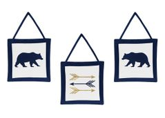 Navy Blue, Gold, and White Wall Hanging Decor for Big Bear Collection Set of 3