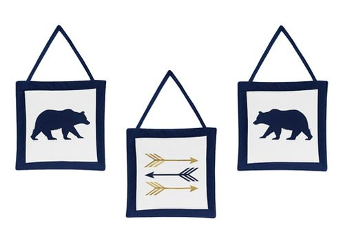 Navy Blue, Gold, and White Wall Hanging Decor for Big Bear Collection Set of 3 - Click to enlarge
