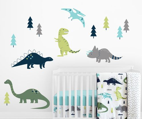 Navy Blue, Green and Grey Dino Large Peel and Stick Wall Mural Decal Stickers Art Nursery Decor for Mod Dinosaur Collection by Sweet Jojo Designs - Set of 2 Sheets - Click to enlarge