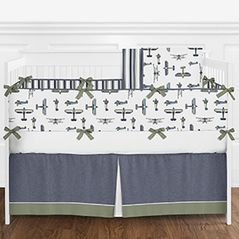 Navy Blue, Green, White and Gold Vintage Airplane Aviator Baby Boy Crib Bedding Set with Bumper by Sweet Jojo Designs - 9 pieces