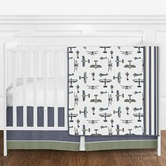 Navy Blue, Green, White and Gold Vintage Airplane Aviator Baby Boy Crib Bedding Set without Bumper by Sweet Jojo Designs - 4 pieces